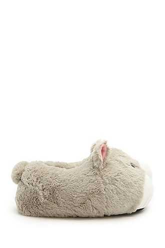 Forever 21 Faux Fur Wolf Face Slippers  Light Grey - GOOFASH