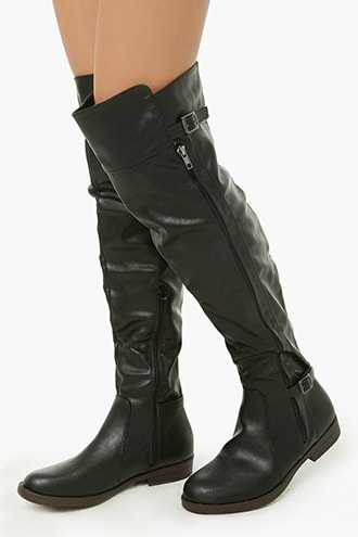 Forever 21 Faux Leather Belted Over-the-Knee Boots  Black - GOOFASH