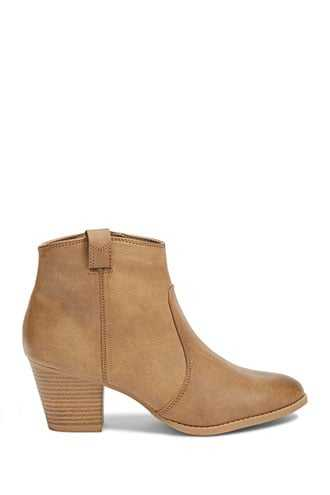 Forever 21 Faux Leather Booties  Taupe - GOOFASH