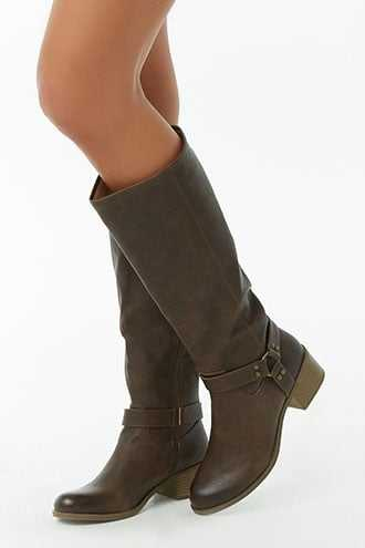 Forever 21 Faux Leather O-Ring Boots  Brown - GOOFASH
