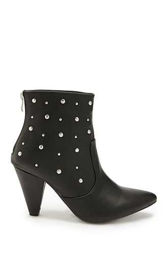 Forever 21 Faux Leather Studded Ankle Booties  Black - GOOFASH
