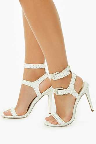 Forever 21 Faux Leather Studded Heels  White - GOOFASH
