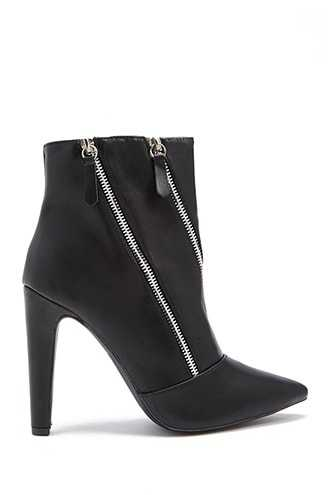Forever 21 Faux Leather Zippered Booties  Black - GOOFASH