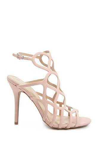 Forever 21 Faux Nubuck Caged Heels  Nude - GOOFASH
