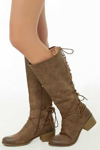Forever 21 Faux Nubuck Lace-Up Knee-High Boots  Brown - GOOFASH