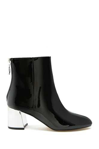 Forever 21 Faux Patent Leather Ankle Boots  Black - GOOFASH