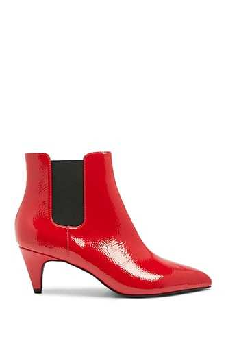 Forever 21 Faux Patent Leather Ankle Boots  Red - GOOFASH