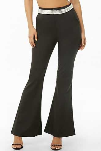 Forever 21 Faux Pearl-Adorned Flare Pants  Black - GOOFASH