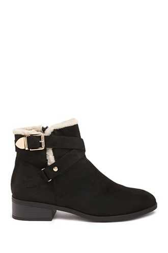 Forever 21 Faux Shearling-Trim Booties  Black - GOOFASH