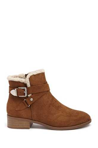 Forever 21 Faux Shearling-Trim Booties  Brown - GOOFASH