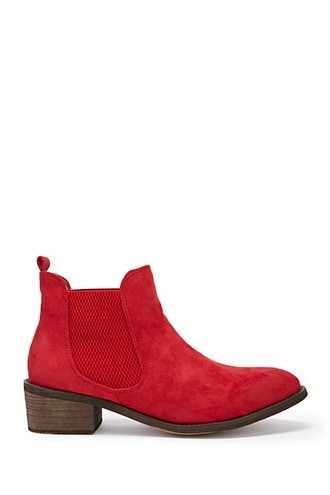 Forever 21 Faux Suede Ankle Boots Red - GOOFASH