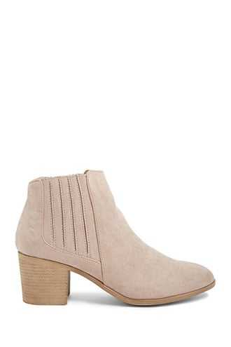 Forever 21 Faux Suede Ankle Boots  Taupe - GOOFASH