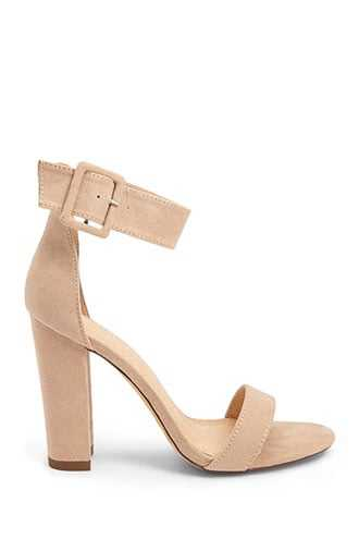 Forever 21 Faux Suede Ankle-Wrap Heels  Camel - GOOFASH