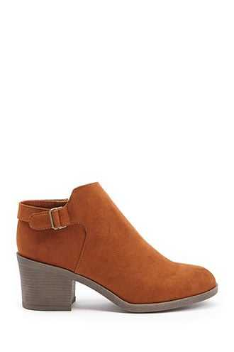 Forever 21 Faux Suede Booties  Chestnut - GOOFASH