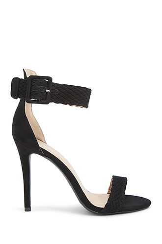 Forever 21 Faux Suede Braided Heels  Black - GOOFASH