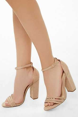 Forever 21 Faux Suede Chunky Heels  Nude - GOOFASH
