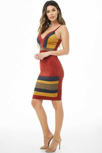 Forever 21 Faux Suede Colorblock Dress  Rust - GOOFASH
