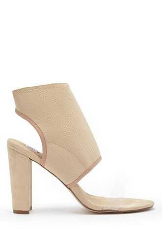 Forever 21 Faux Suede Cutout Heels  Nude - GOOFASH