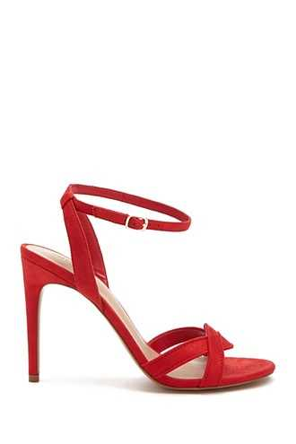 Forever 21 Faux Suede Heels  Red - GOOFASH