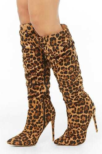 Forever 21 Faux Suede Jaguar Print Knee-High Boots  Brown/multi - GOOFASH
