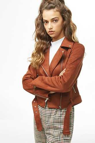 Forever 21 Faux Suede Moto Jacket  Brown - GOOFASH