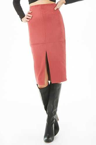 Forever 21 Faux Suede Pencil Skirt  Marsala - GOOFASH