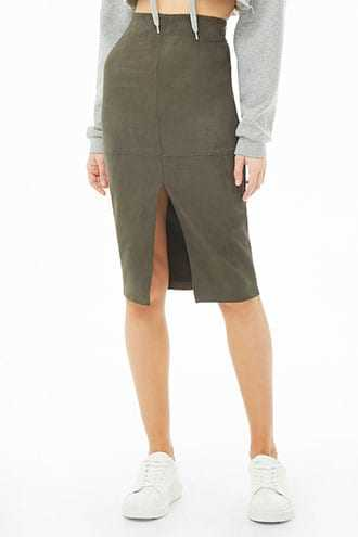 Forever 21 Faux Suede Pencil Skirt  Olive - GOOFASH