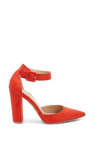 Forever 21 Faux Suede Pointed Ankle-Strap Heels  Orange - GOOFASH