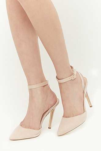 Forever 21 Faux Suede Pointed-Toe Ankle-Wrap Heels  Nude - GOOFASH