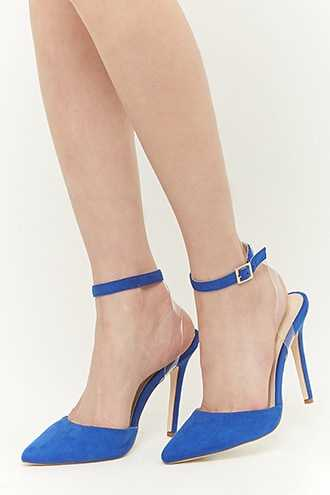 Forever 21 Faux Suede Pointed-Toe Ankle-Wrap Heels  Royal - GOOFASH