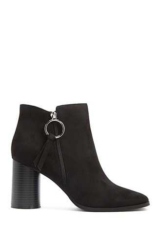 Forever 21 Faux Suede Pull-Ring Booties  Black - GOOFASH