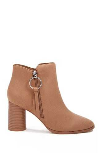 Forever 21 Faux Suede Pull-Ring Booties  Taupe - GOOFASH