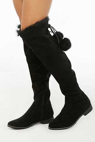 Forever 21 Faux Suede Rhinestone-Trim Lace-Up Boots  Black - GOOFASH