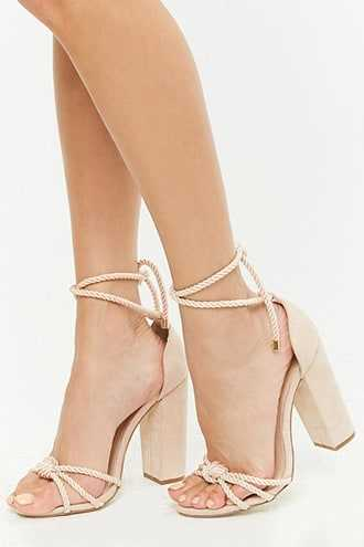 Forever 21 Faux Suede Roped Chunky Heels  Nude - GOOFASH