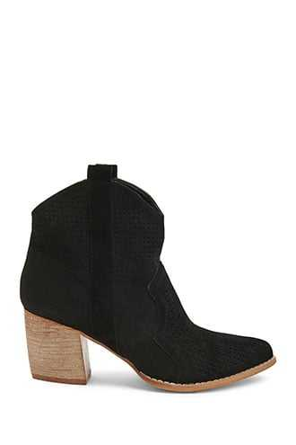 Forever 21 Faux Suede Western-Inspired Ankle Booties  Black - GOOFASH