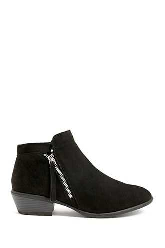Forever 21 Faux Suede Zip-Ankle Booties  Black - GOOFASH