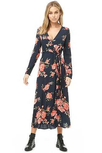 Forever 21 Floral Wrap Dress  Navy/red - GOOFASH