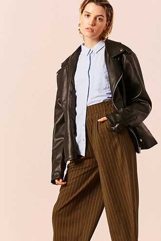 Forever 21 Frayed Stripe Culottes  Brown - GOOFASH