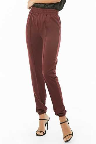 Forever 21 French Terry Knit Joggers  Plum - GOOFASH