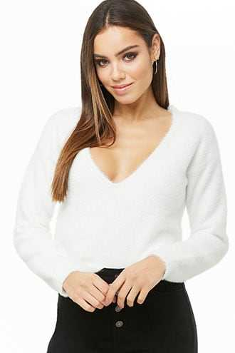 Forever 21 Fuzzy Knit Sweater  Ivory - GOOFASH