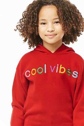 Forever 21 Girls Cool Vibes Graphic Hoodie (Kids)  Red/multi - GOOFASH