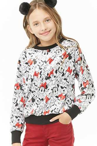 Forever 21 Girls Minnie Mouse and Daisy Duck Print Top (Kids)  White/multi - GOOFASH