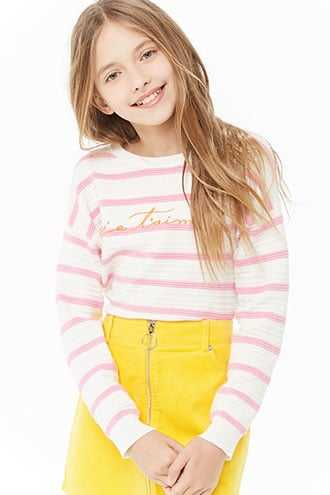 Forever 21 Girls Ribbed Je Taime Graphic Sweater (Kids)  Cream/pink - GOOFASH