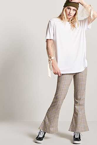 Forever 21 Glen Plaid Flare Pants  Brown - GOOFASH