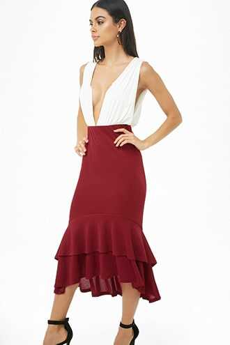 Forever 21 High-Low Trumpet Skirt  Wine - GOOFASH