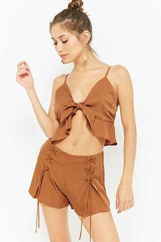 Forever 21 High-Rise Lace-Up Mini Shorts Rust - GOOFASH