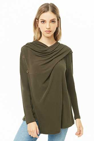 Forever 21 Hooded French Terry Wrap Top  Olive - GOOFASH
