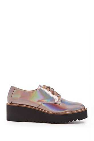 Forever 21 Jane And The Shoe Iridescent Oxfords  Bronze - GOOFASH