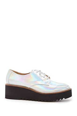 Forever 21 Jane And The Shoe Iridescent Oxfords  Silver - GOOFASH