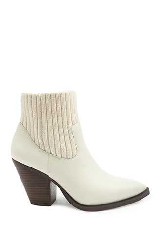 Forever 21 Jane And The Shoe Sock Booties  Cream - GOOFASH